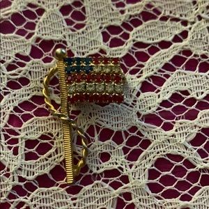 American Flag Pin Gold Tone 1 1/2 inches